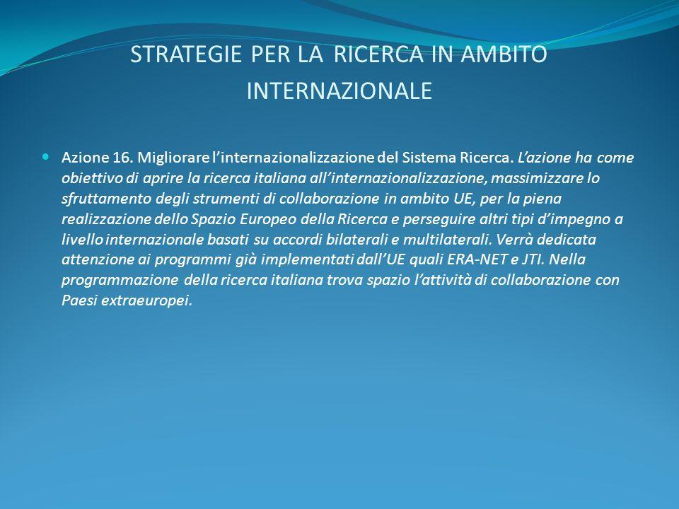 STRATEGIE PER LA RICERCA IN AMBITO INTERNAZIONALE