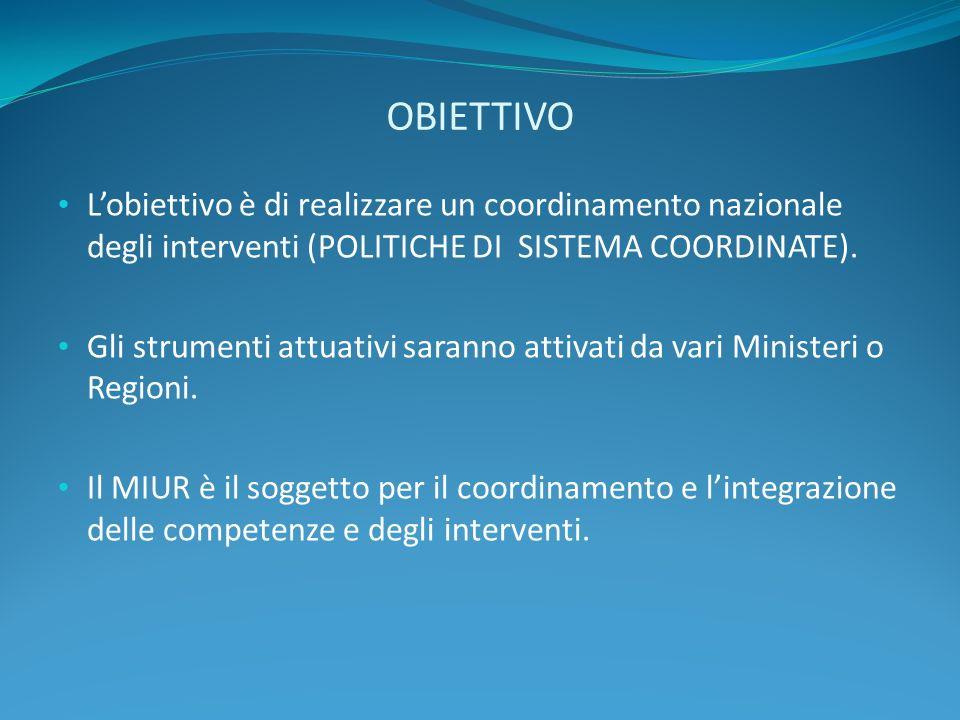 OBIETTIVO L'obiettivo è di realizzare un coordinamento nazionale degli interventi (POLITICHE DI SISTEMA COORDINATE).