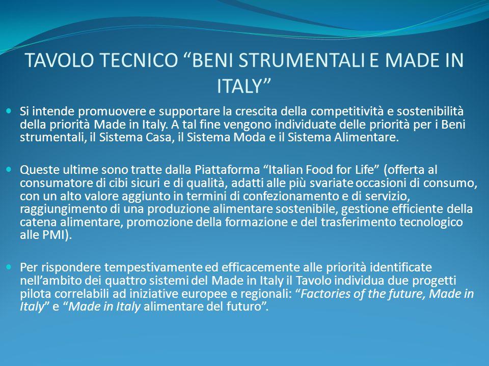 TAVOLO TECNICO BENI STRUMENTALI E MADE IN ITALY