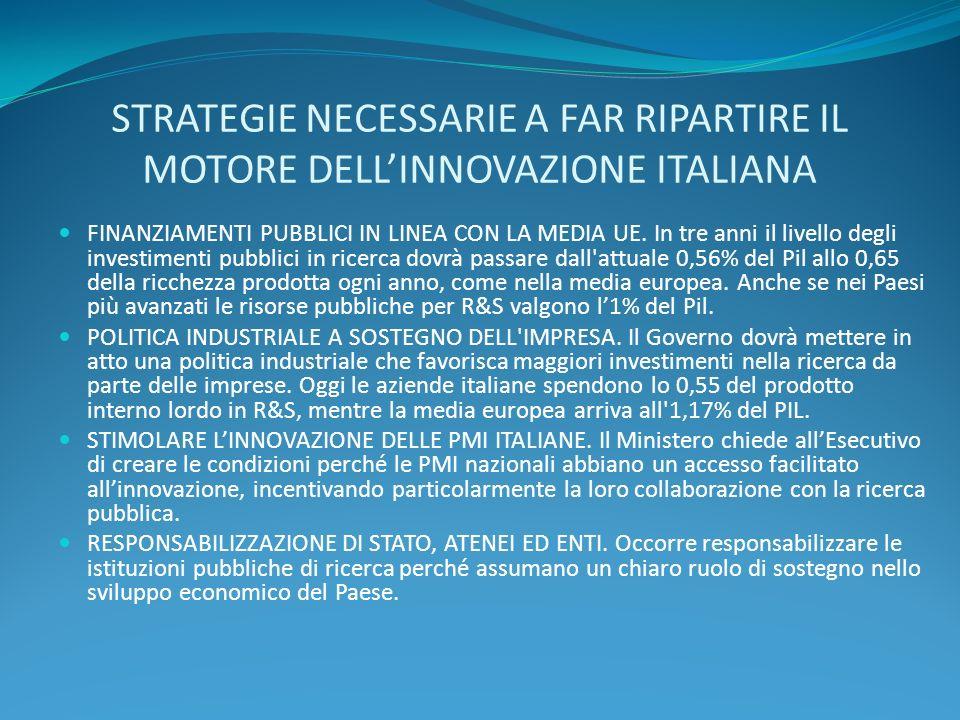 STRATEGIE NECESSARIE A FAR RIPARTIRE IL MOTORE DELL'INNOVAZIONE ITALIANA