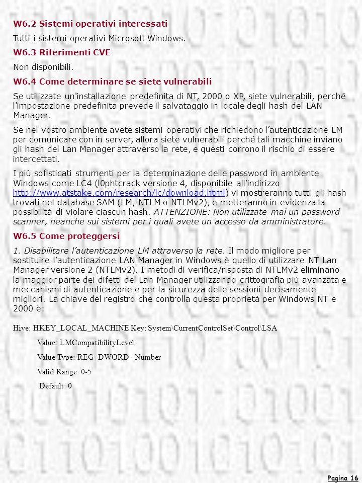 W6.2 Sistemi operativi interessati