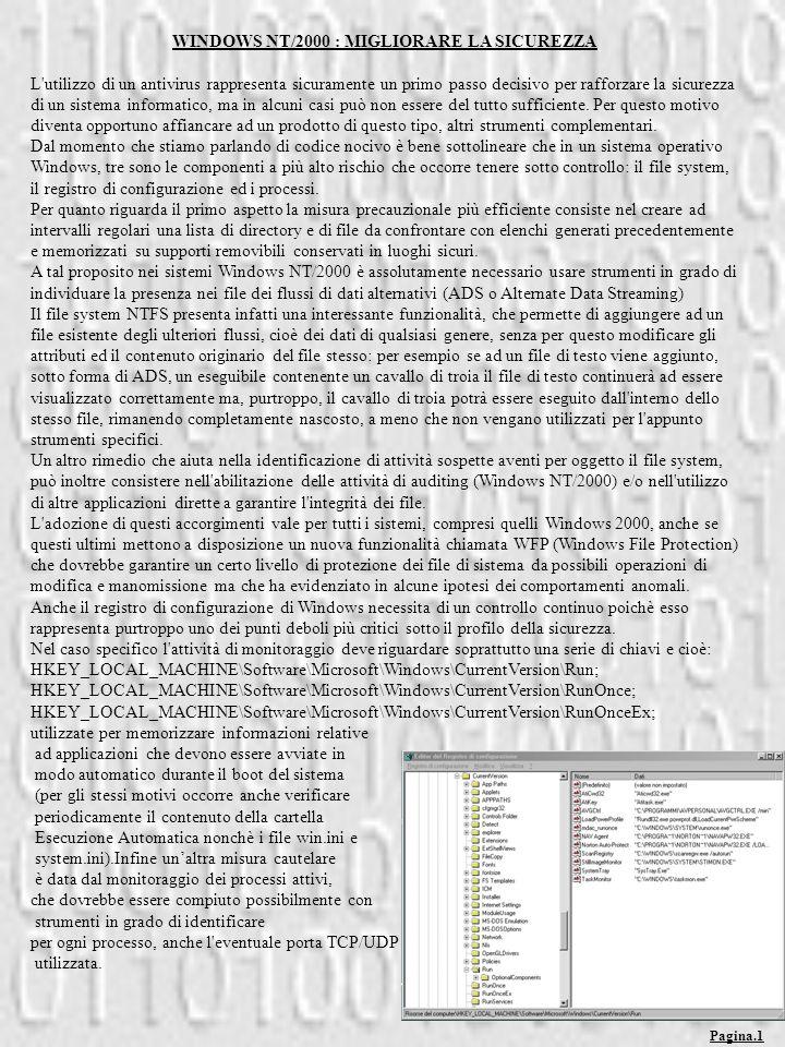 WINDOWS NT/2000 : MIGLIORARE LA SICUREZZA