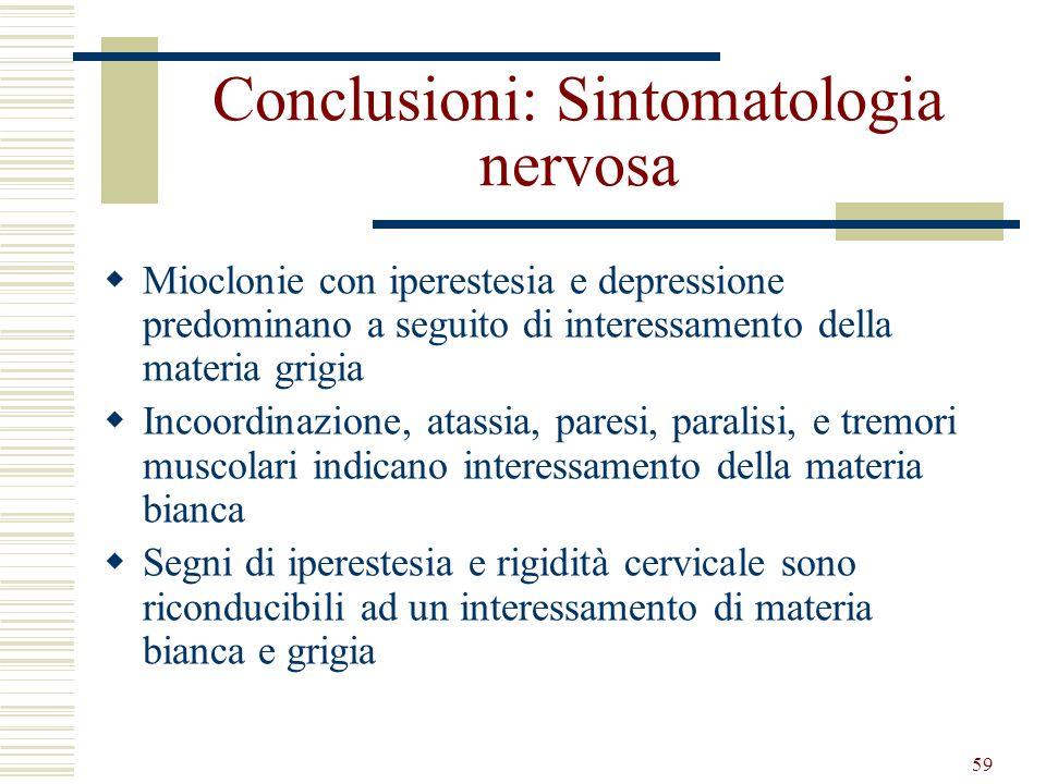 Conclusioni: Sintomatologia nervosa