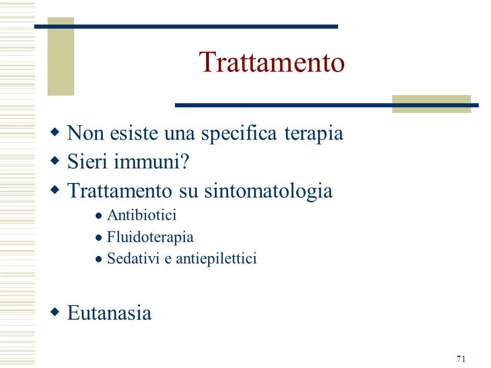 Trattamento Non esiste una specifica terapia Sieri immuni