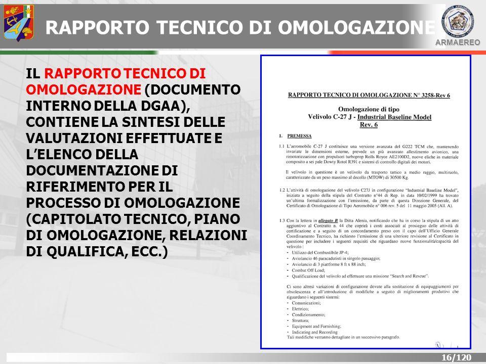 RAPPORTO TECNICO DI OMOLOGAZIONE