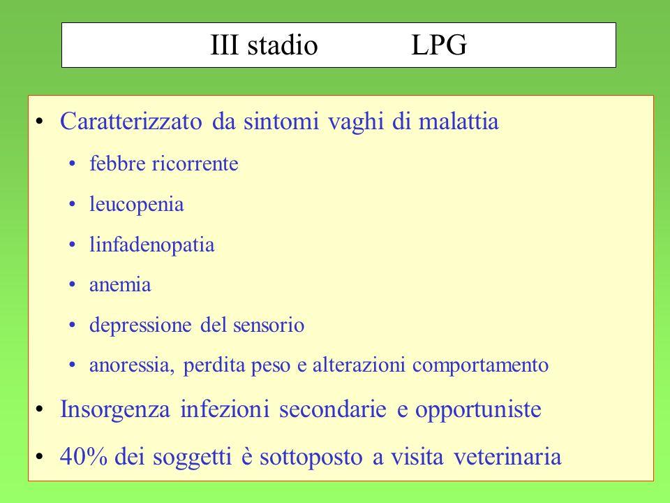 III stadio LPG Caratterizzato da sintomi vaghi di malattia