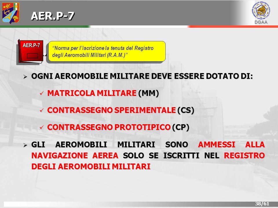 AER.P-7 AER.P-7 OGNI AEROMOBILE MILITARE DEVE ESSERE DOTATO DI: