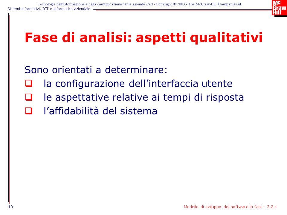 Fase di analisi: aspetti qualitativi