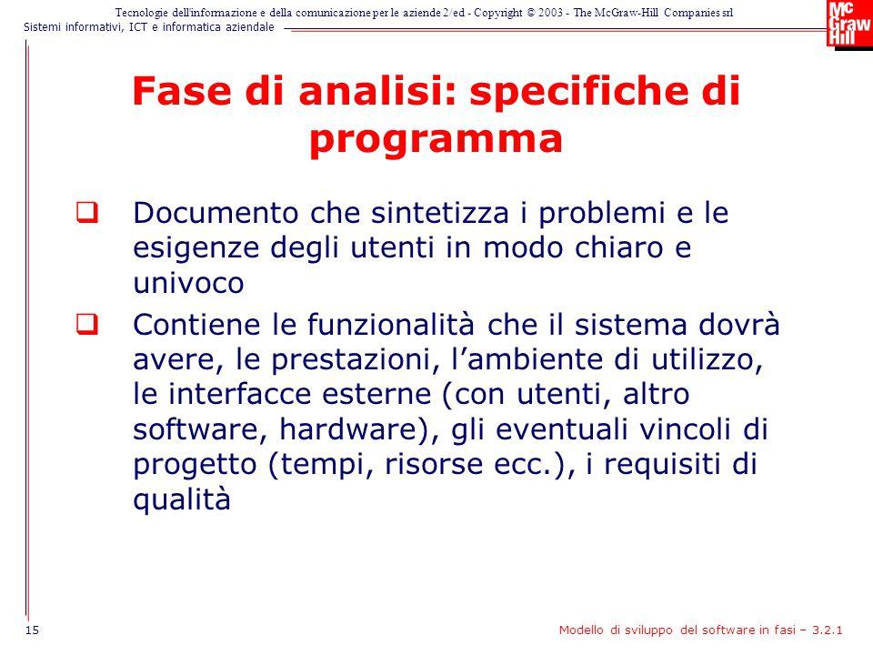 Fase di analisi: specifiche di programma