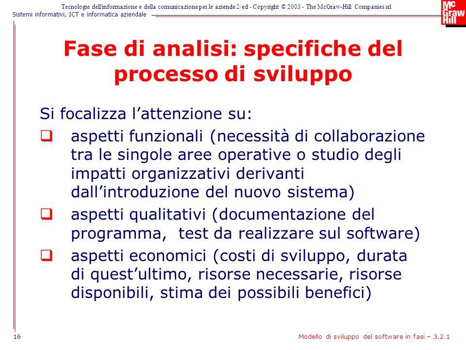 Fase di analisi: specifiche del processo di sviluppo
