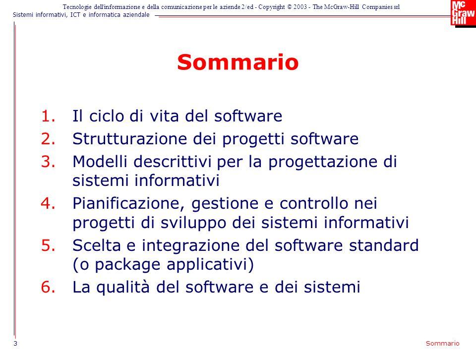 Sommario Il ciclo di vita del software