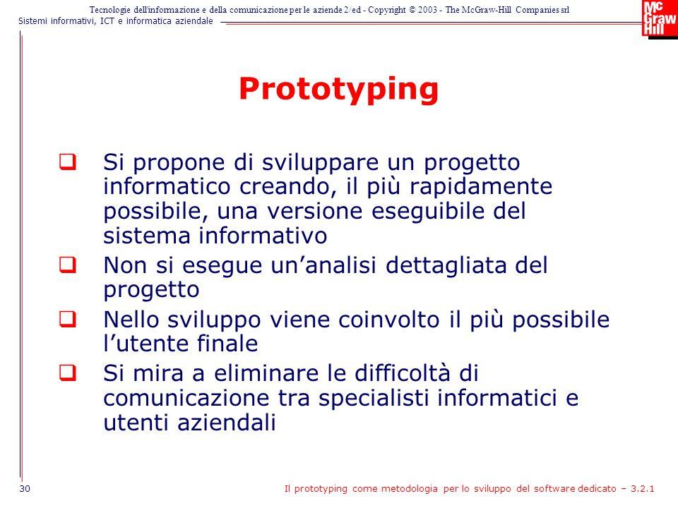 Prototyping Si propone di sviluppare un progetto informatico creando, il più rapidamente possibile, una versione eseguibile del sistema informativo.