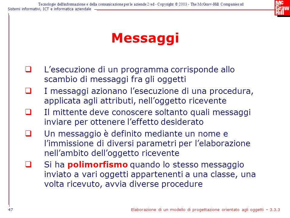 Messaggi L'esecuzione di un programma corrisponde allo scambio di messaggi fra gli oggetti.