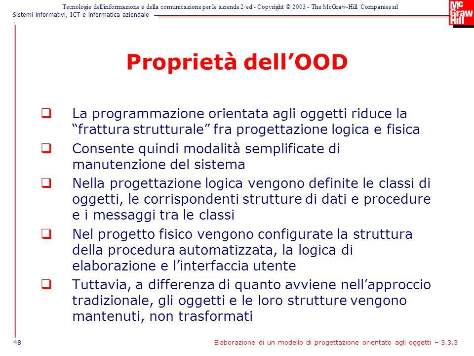 Proprietà dell'OOD La programmazione orientata agli oggetti riduce la frattura strutturale fra progettazione logica e fisica.