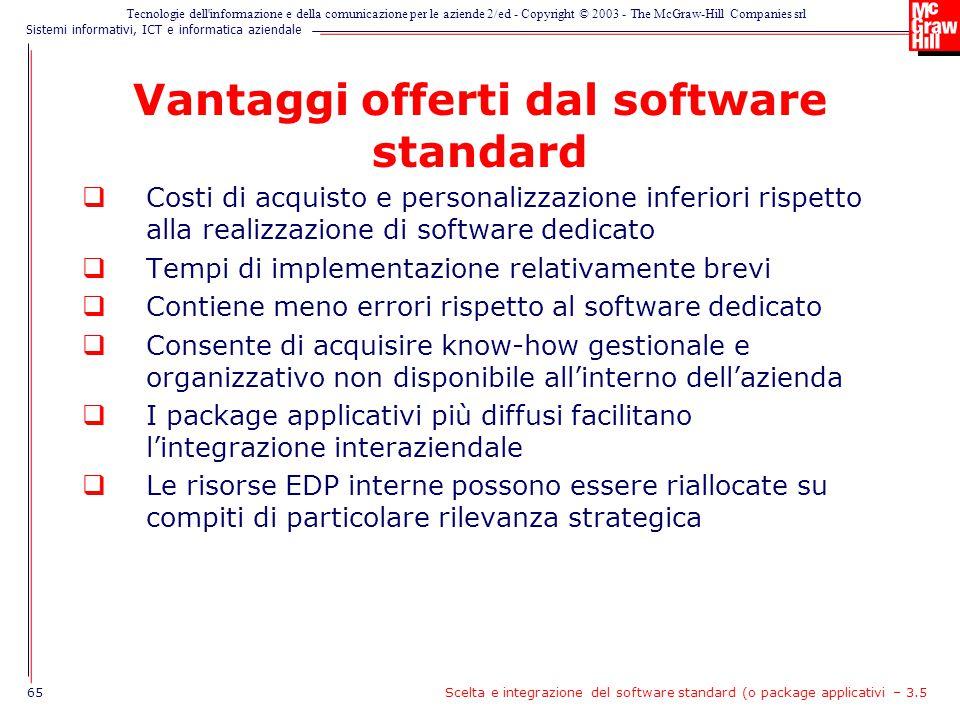 Vantaggi offerti dal software standard