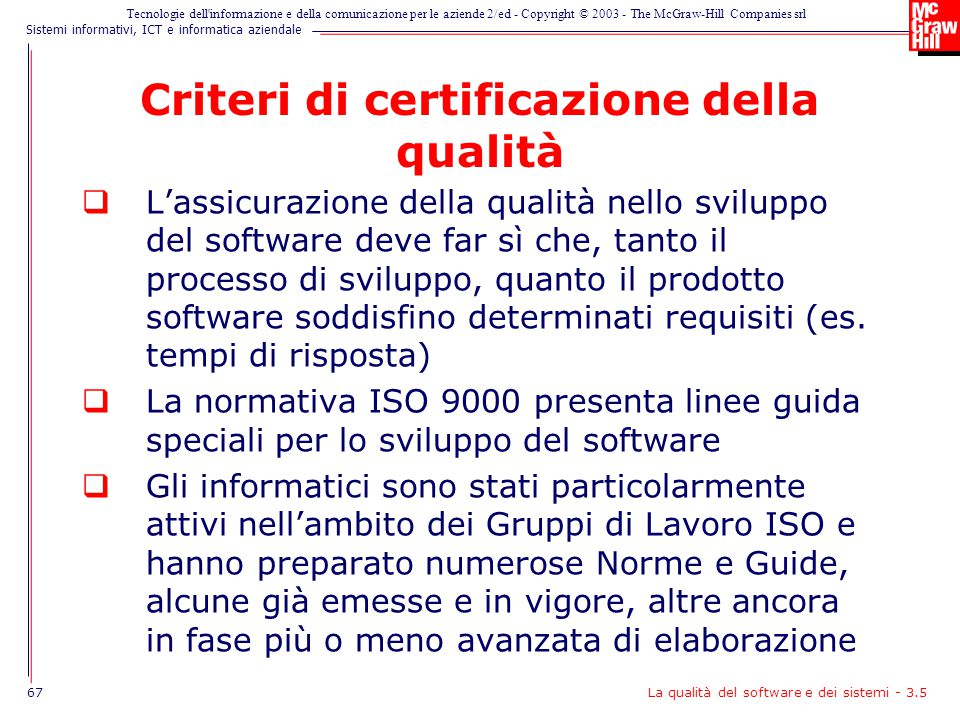 Criteri di certificazione della qualità
