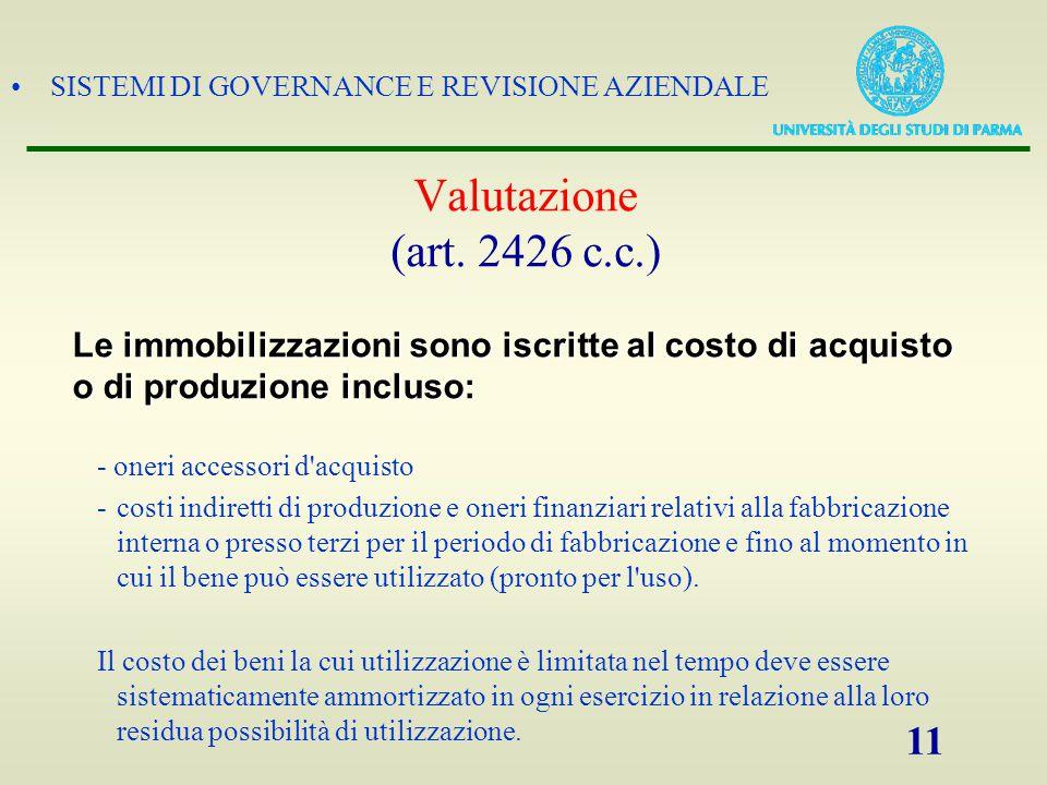 Valutazione (art. 2426 c.c.) Le immobilizzazioni sono iscritte al costo di acquisto. o di produzione incluso: