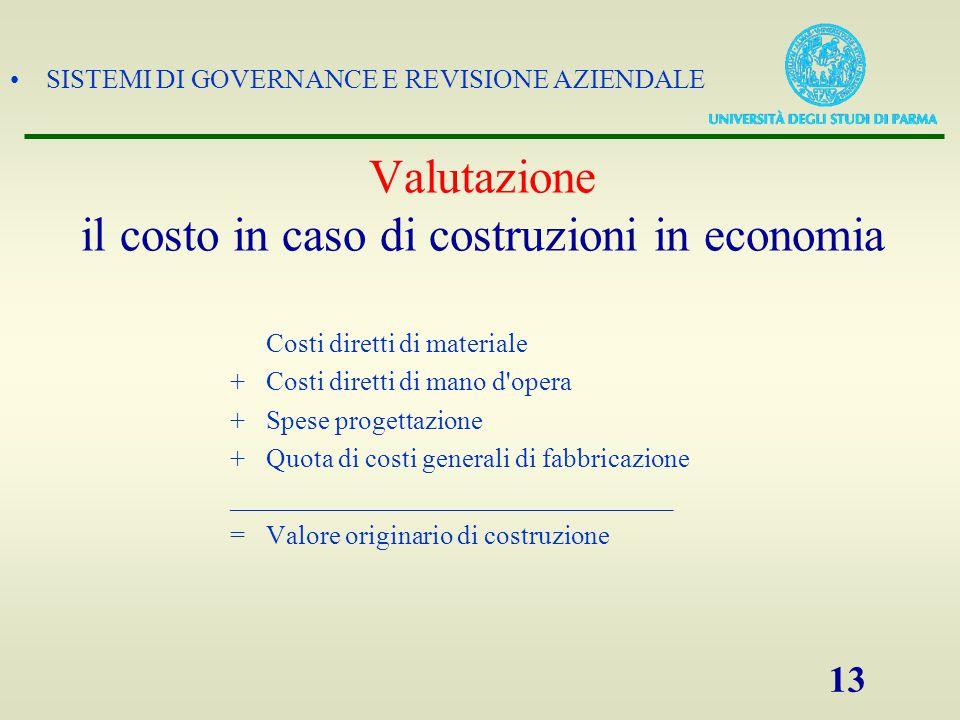 Valutazione il costo in caso di costruzioni in economia