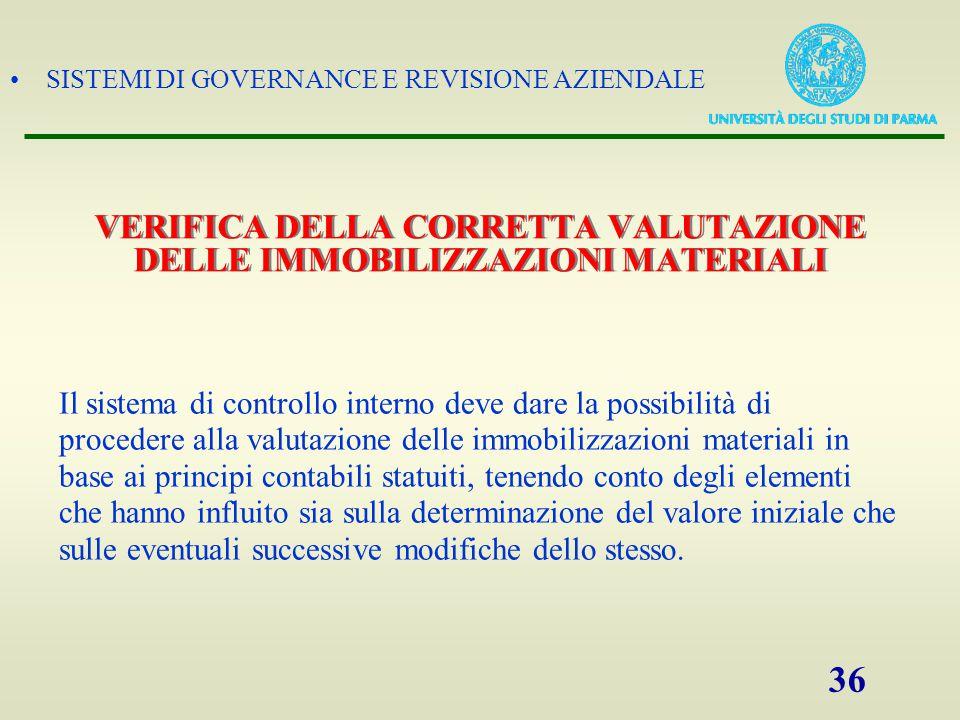VERIFICA DELLA CORRETTA VALUTAZIONE DELLE IMMOBILIZZAZIONI MATERIALI