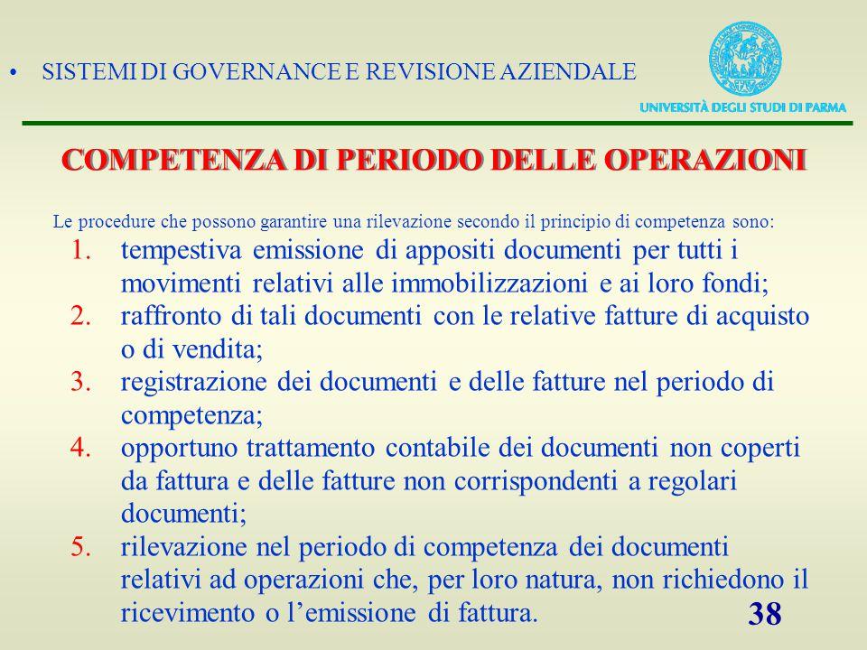 COMPETENZA DI PERIODO DELLE OPERAZIONI