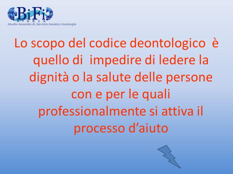 Lo scopo del codice deontologico è quello di impedire di ledere la dignità o la salute delle persone con e per le quali professionalmente si attiva il processo d'aiuto
