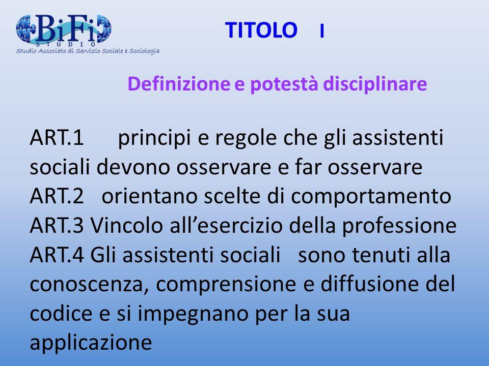 TITOLO I. Definizione e potestà disciplinare ART