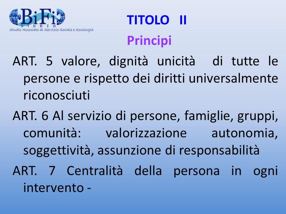 ART. 7 Centralità della persona in ogni intervento -