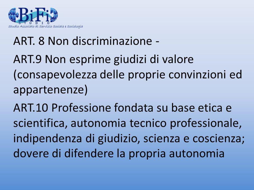 ART. 8 Non discriminazione -