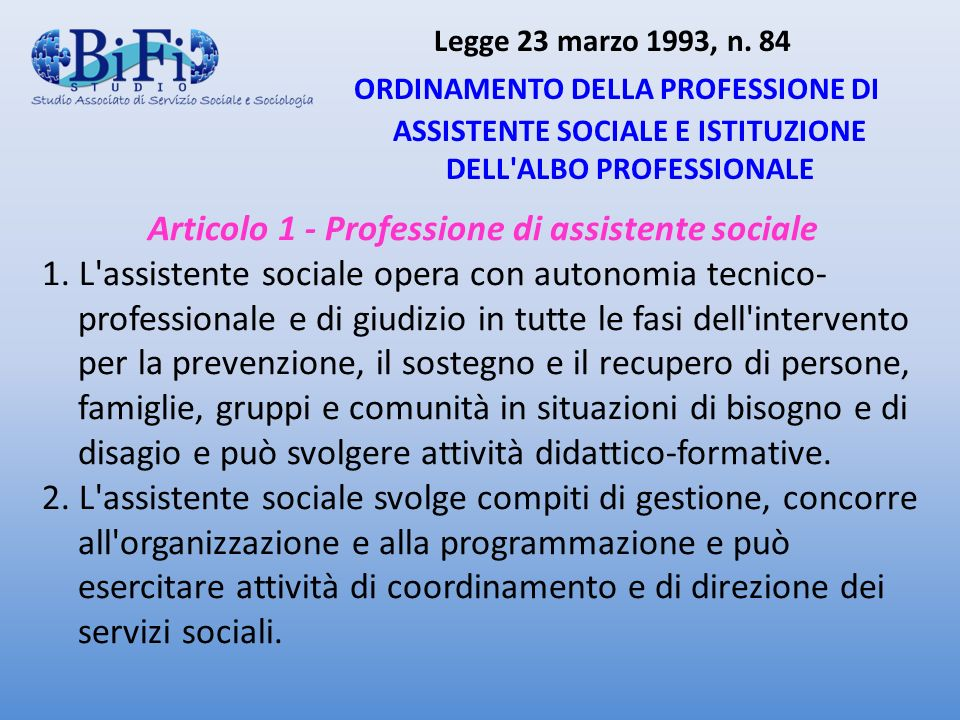 Articolo 1 - Professione di assistente sociale