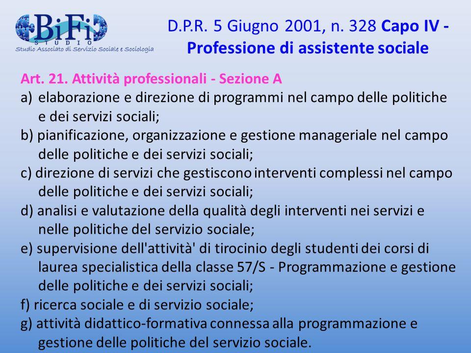 D.P.R. 5 Giugno 2001, n. 328 Capo IV - Professione di assistente sociale