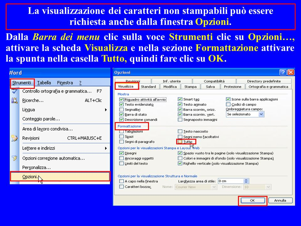 La visualizzazione dei caratteri non stampabili può essere richiesta anche dalla finestra Opzioni.