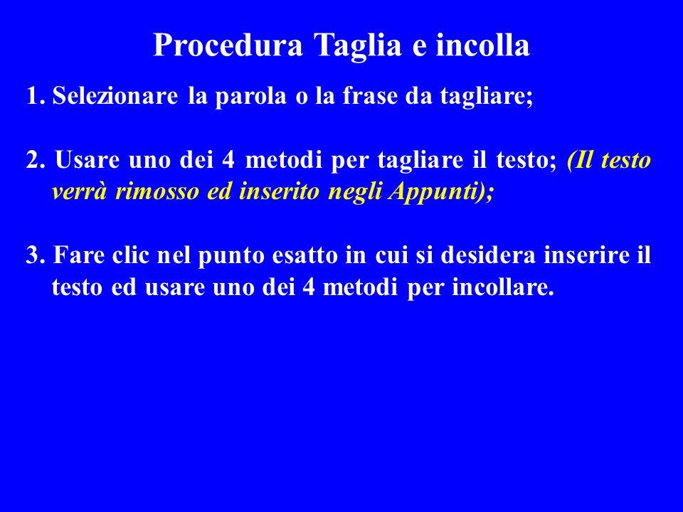 Procedura Taglia e incolla