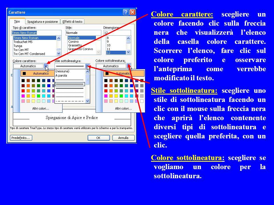 Colore carattere: scegliere un colore facendo clic sulla freccia nera che visualizzerà l'elenco della casella colore carattere. Scorrere l'elenco, fare clic sul colore preferito e osservare l'anteprima come verrebbe modificato il testo.