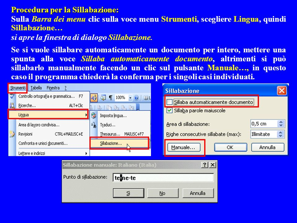 Procedura per la Sillabazione: