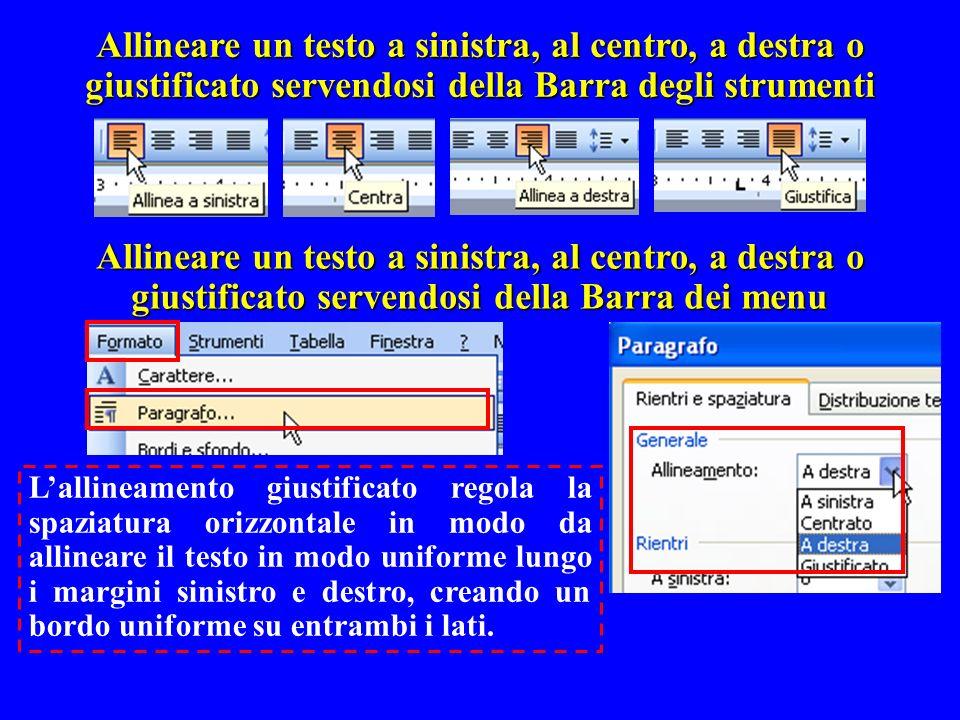 Allineare un testo a sinistra, al centro, a destra o giustificato servendosi della Barra degli strumenti