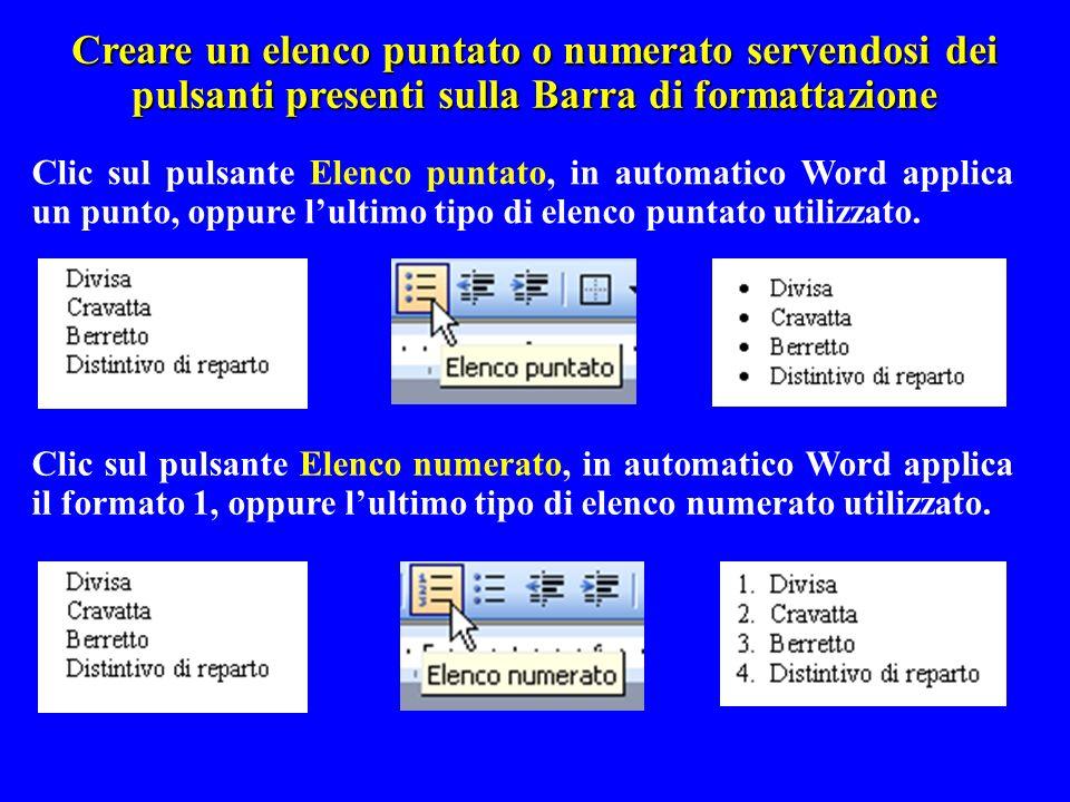 Creare un elenco puntato o numerato servendosi dei pulsanti presenti sulla Barra di formattazione