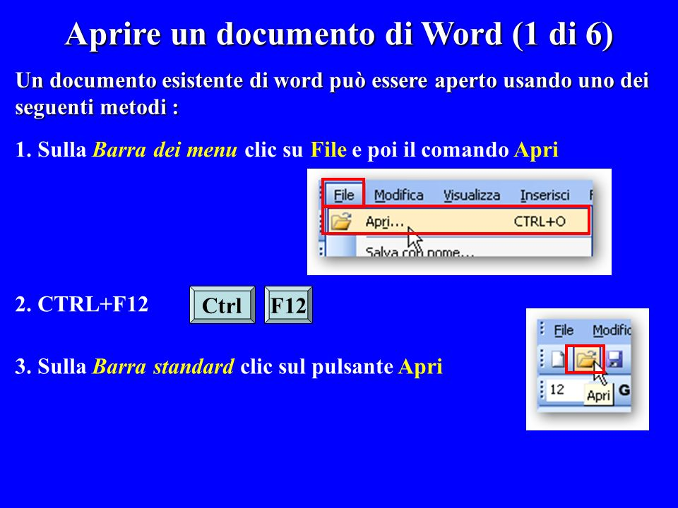Aprire un documento di Word (1 di 6)