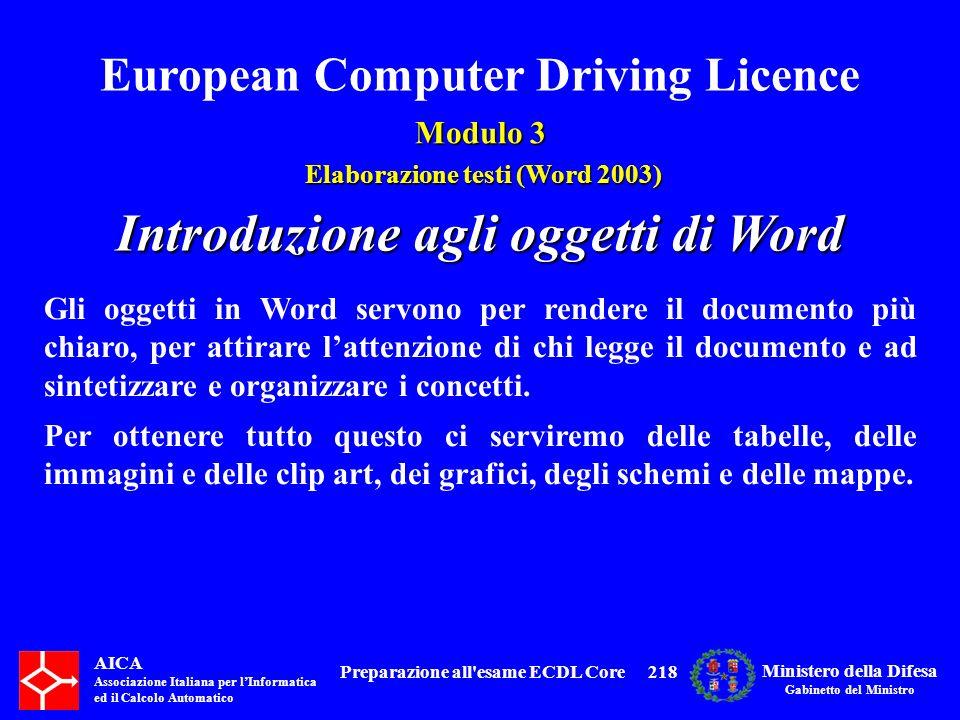 Introduzione agli oggetti di Word Preparazione all esame ECDL Core