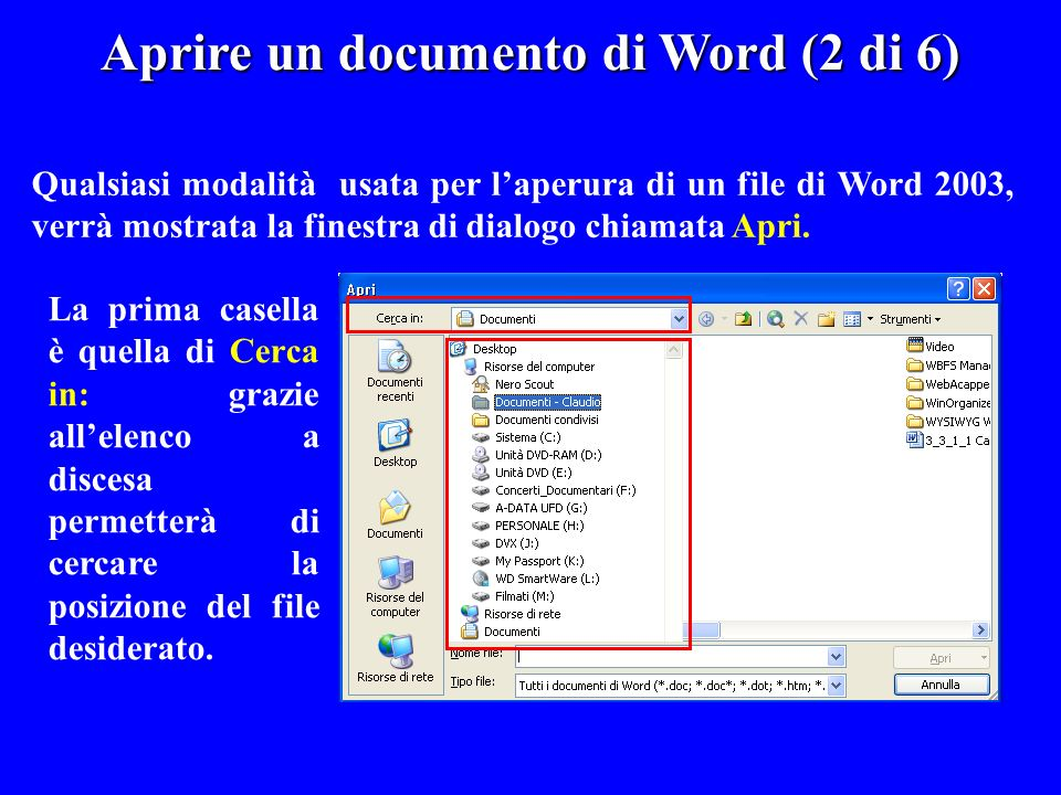 Aprire un documento di Word (2 di 6)