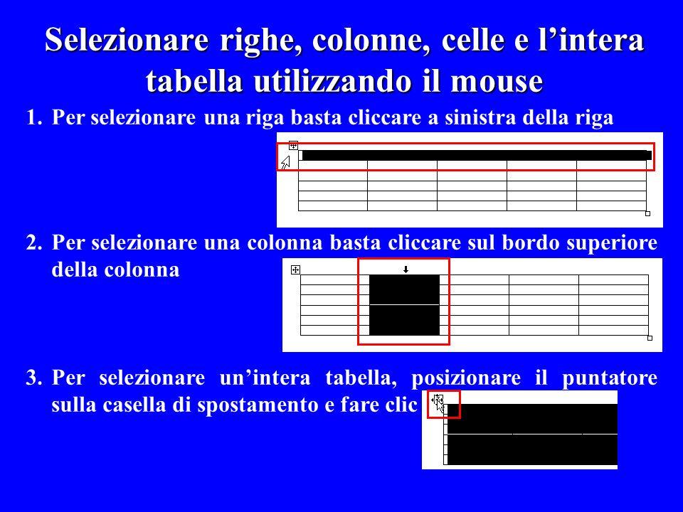 Selezionare righe, colonne, celle e l'intera tabella utilizzando il mouse