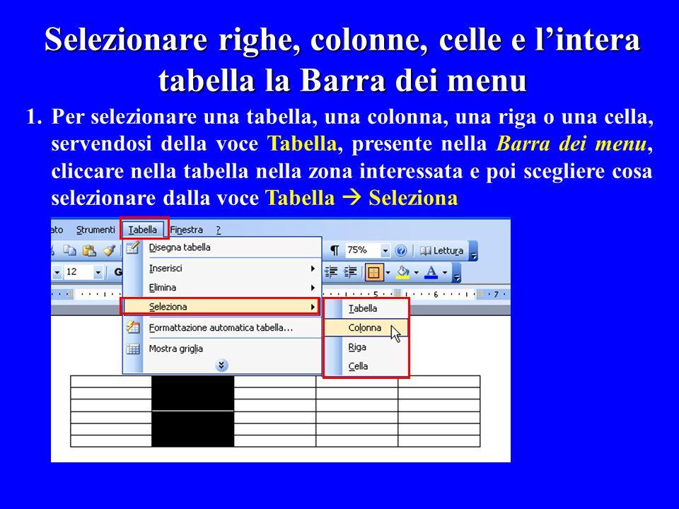 Selezionare righe, colonne, celle e l'intera tabella la Barra dei menu