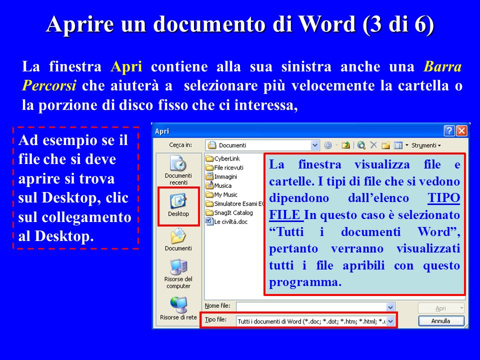 Aprire un documento di Word (3 di 6)