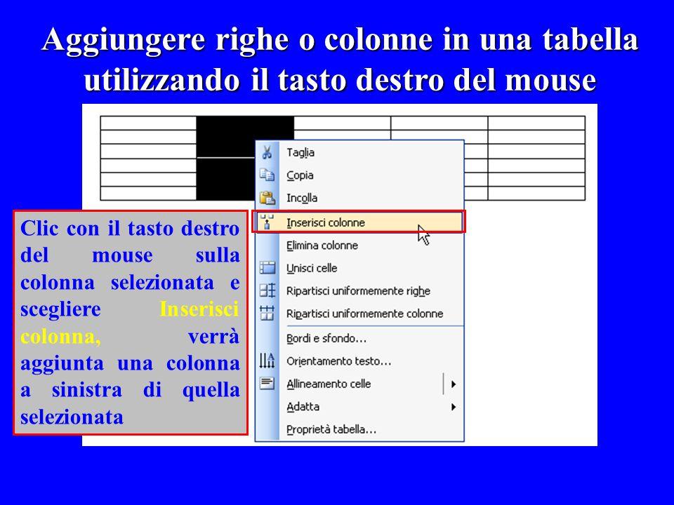Aggiungere righe o colonne in una tabella utilizzando il tasto destro del mouse