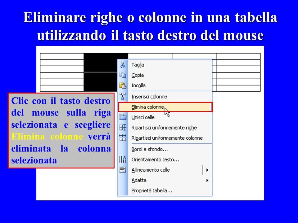 Eliminare righe o colonne in una tabella utilizzando il tasto destro del mouse