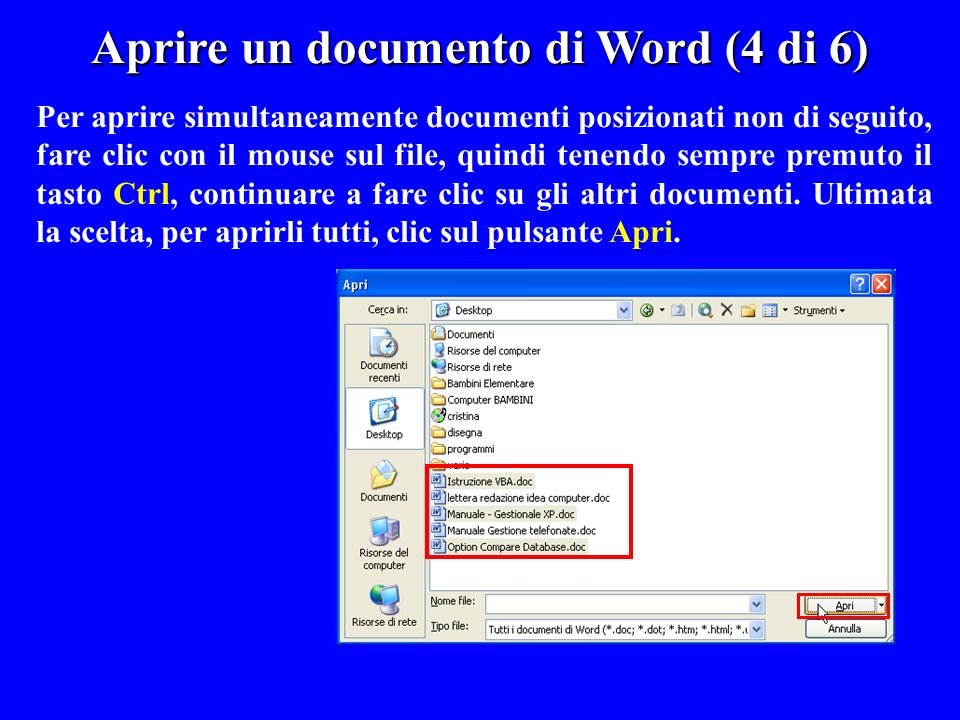 Aprire un documento di Word (4 di 6)