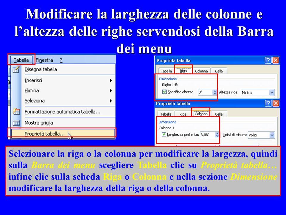 Modificare la larghezza delle colonne e l'altezza delle righe servendosi della Barra dei menu