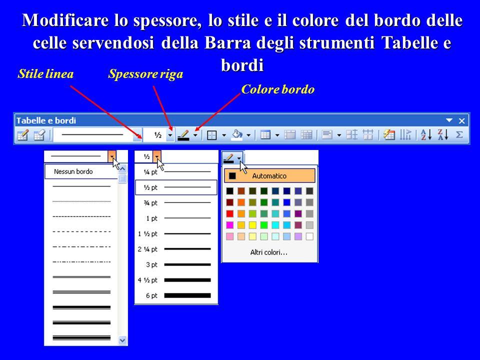 Modificare lo spessore, lo stile e il colore del bordo delle celle servendosi della Barra degli strumenti Tabelle e bordi