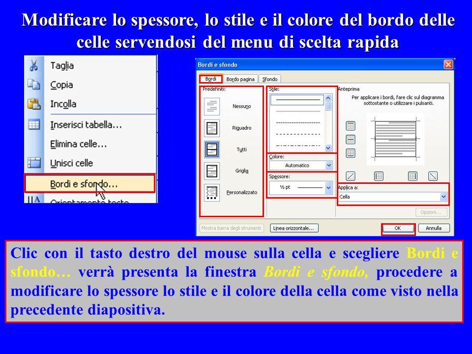 Modificare lo spessore, lo stile e il colore del bordo delle celle servendosi del menu di scelta rapida
