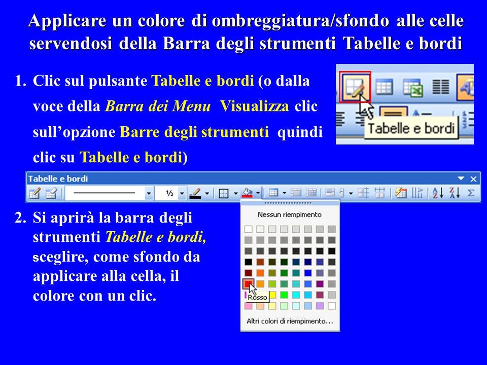 Applicare un colore di ombreggiatura/sfondo alle celle servendosi della Barra degli strumenti Tabelle e bordi