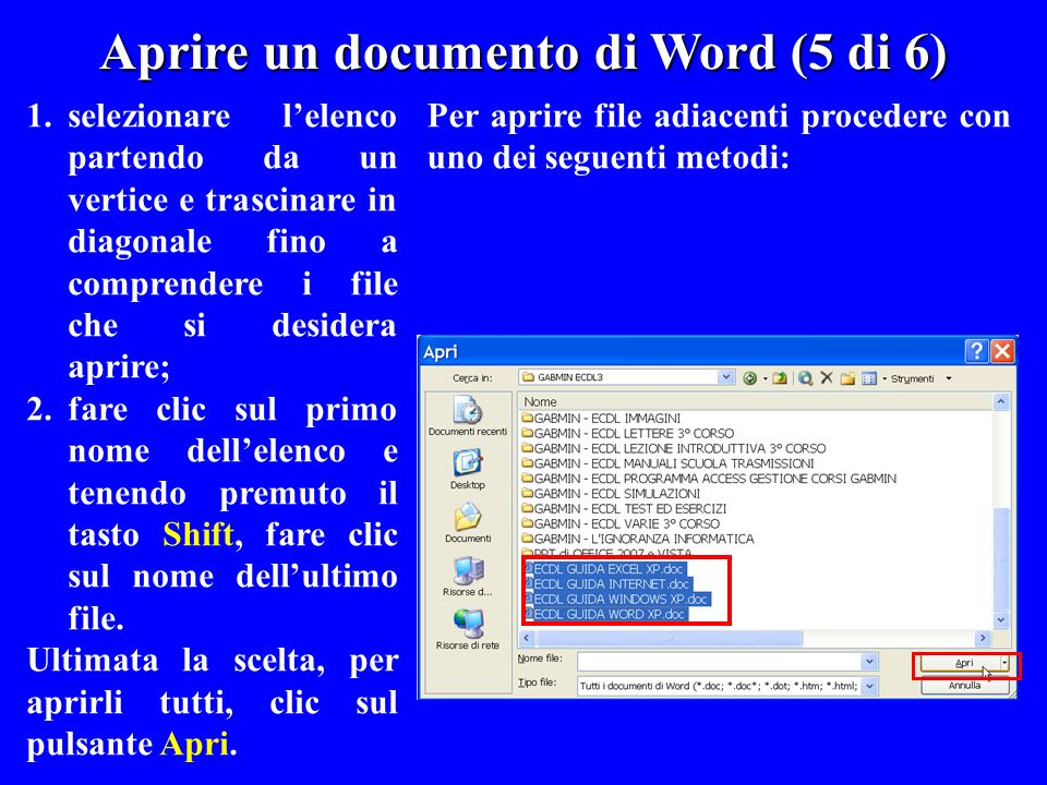 Aprire un documento di Word (5 di 6)